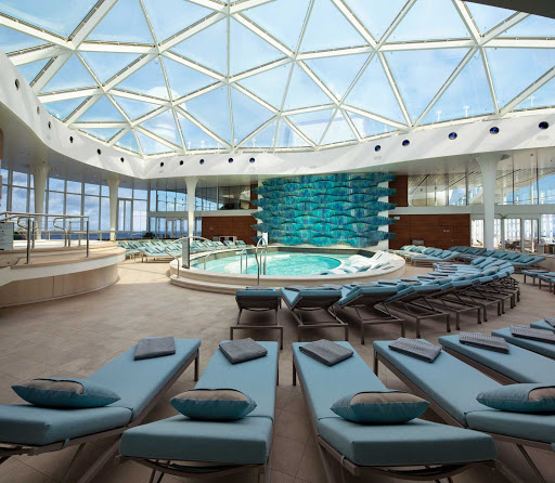 On the Resort Deck, you'll find one of the most popular spots on Celebrity Edge — the adults-only Solarium.