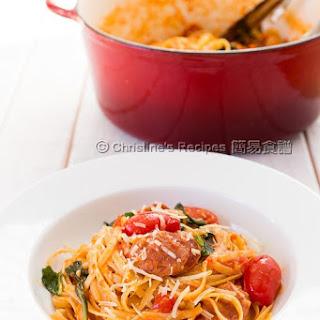 One Pot Pasta with Tomato, Basil and Chorizo Recipe