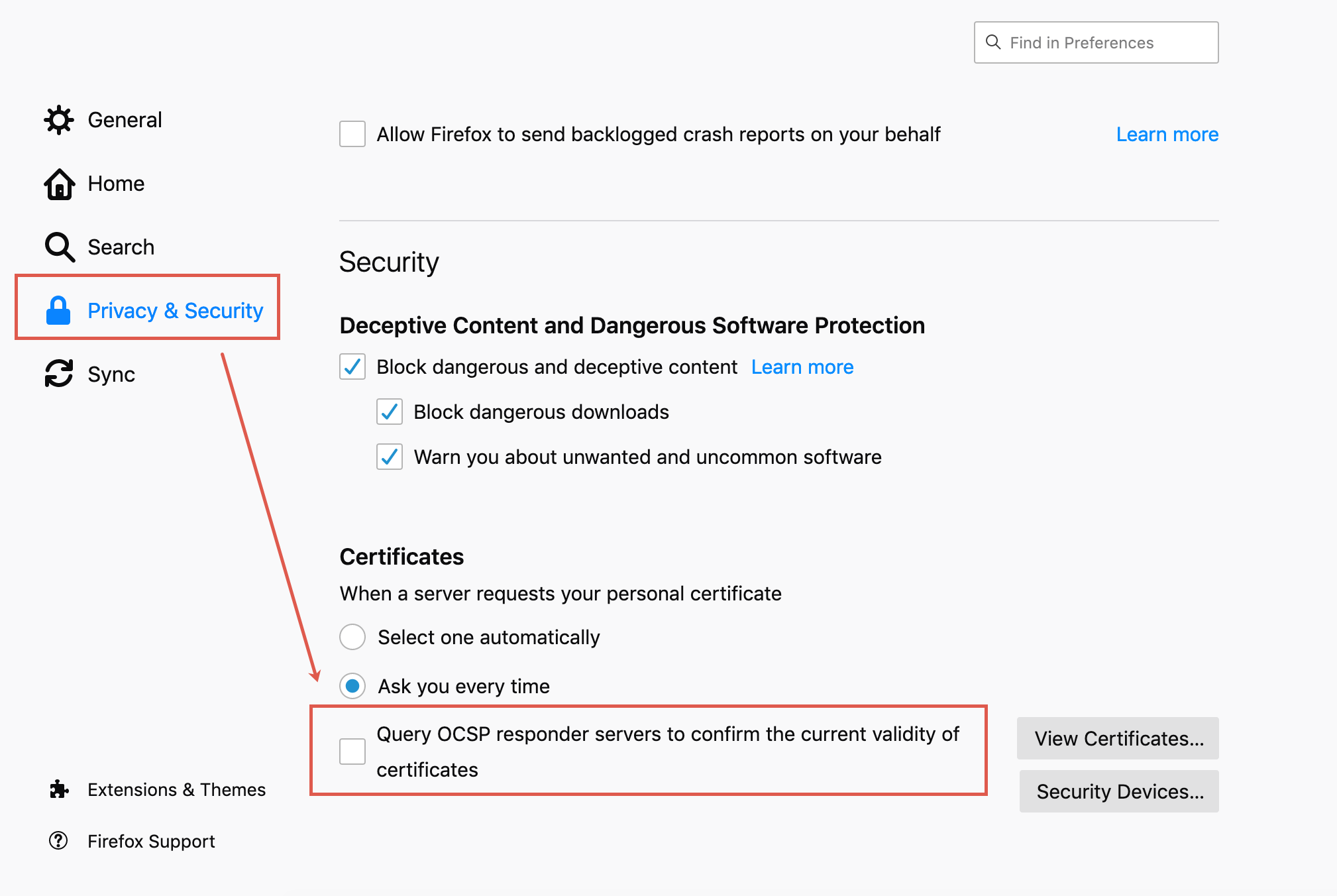 Uncheck the box associated with Query OCSP responder servers to confirm the current validity of certificates.