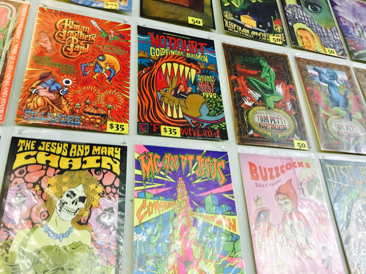 Classic concert posters on sale.