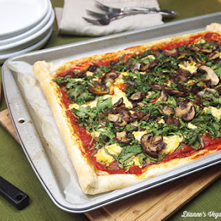 Mushroom and Arugula Filo-Crust Pizza
