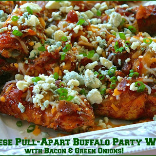 3-Cheese Pull-Apart Buffalo Party Wings with Bacon & Green Onions (No Dip Needed!).