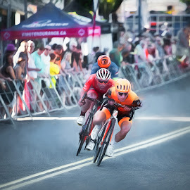 Racing In The Slip Stream by Garry Dosa - Sports & Fitness Cycling ( racing, motion, roadrace, blur, cycling, people, speed, fast, outdoors, tour de white rock, men, action, competitive, bicycles, sport )