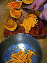 Photo: cutting kabocha squash