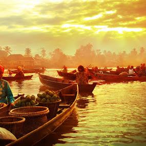 Golden Village by Randy Rakhmadany - Transportation Boats ( lokbaintan, indonesia, floating market, randy rakhmadany, borneo )