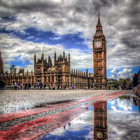 Reflection of the Big Ben by Charles Ong - City,  Street & Park  Street Scenes ( reflection, building, hdr, the big ben, reflections, architecture, places, travel, road, people, mirror, landmark, streets,  )