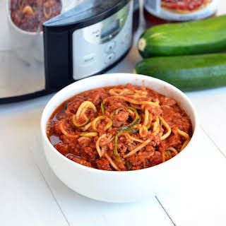 Slow Cooker Turkey Bolognese & Zucchini Noodles.