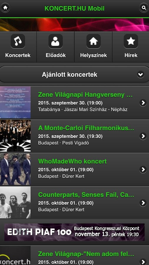 koncert.hu- screenshot