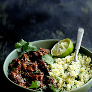 Slow Cooker Beef Short Ribs Barbacoa with Cilantro Lime Cauliflower Rice.