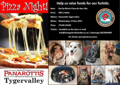 Change For The Better Fundraiser Pizza Night Wed 15 Nov 5pm : Panarottis Tygervalley