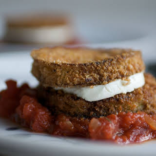 """Eggplant and Goat-Cheese """"Sandwiches"""" with Tomato Tarragon Sauce."""