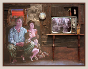 Photo: Antonio Berni Juanito y su familia mirando el televisor 1974 ca. 160 x 250 cm. Colección particular, Buenos Aires. Expo: Antonio Berni. Juanito y Ramona (MALBA 2014-2015)