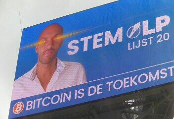 Candidato do Partido Libertário olhos de laser e bitcoin