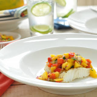 Grilled Sea Bass with Mango Salsa.