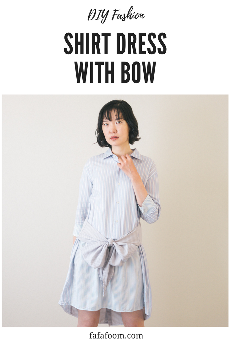 DIY Shirt Dress with Bow Waist Tie - DIY Fashion Garment | fafafoom.com
