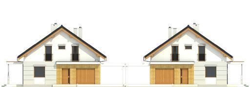 Nowinka V z garażem i wiatą bliźniak A1-BL1 - Elewacja przednia