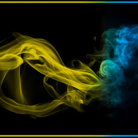 Smoke Art by Francisco Little - Abstract Patterns ( gold, blue, smoke, yellow, abstract, incense )
