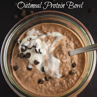 Overnight Chocolate Oatmeal Protein Bowl.