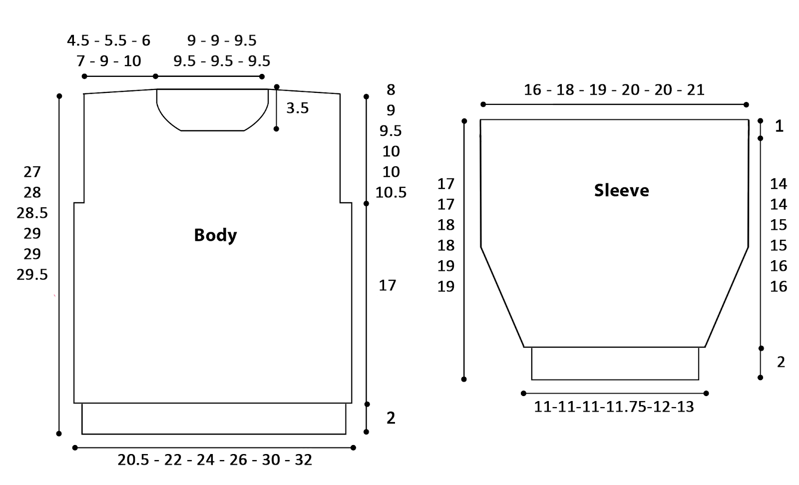 Loom Knit Sweater Schematic Drawing with Size Measurements