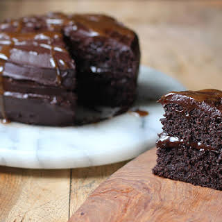 Chocolate Caramel Brownie Cake.