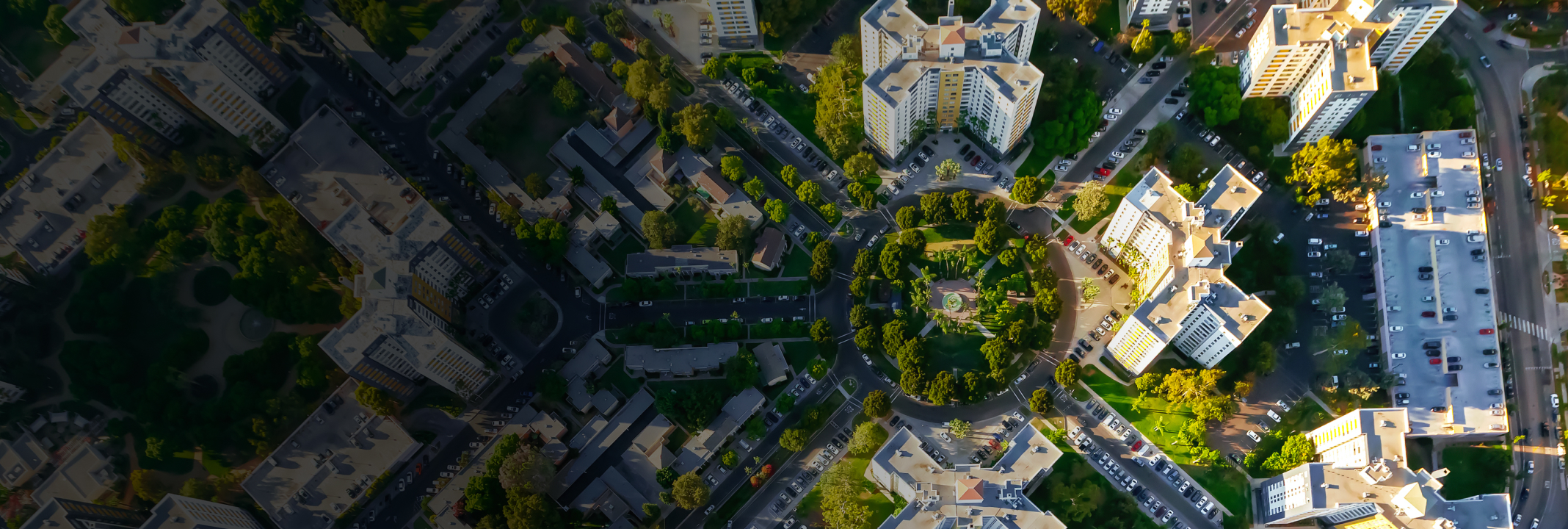 Overhead view of apartment buildings in a city