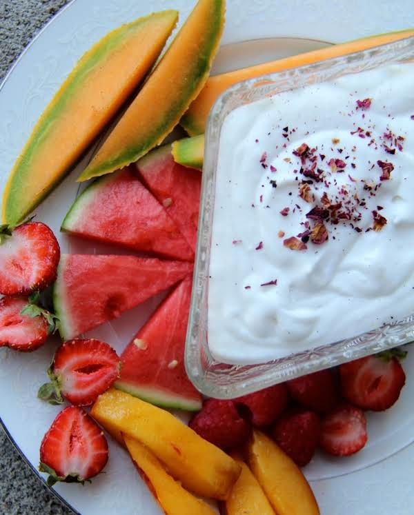 Fresh Fruit Platter With Coconut Whipped Cream
