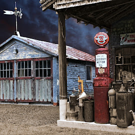 Coming Storm by JEFFREY LORBER - Buildings & Architecture Decaying & Abandoned ( jeffrey lorber, storm, garage, gas station, lorberphoto, building, architecture )