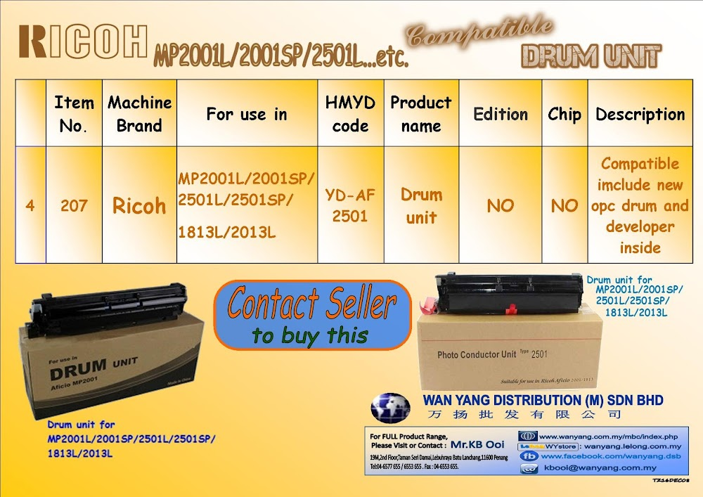 Ricoh MP2001L/2001SP/2501L etc.Compatible Drum Units