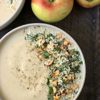 Apple Cider Cauliflower Soup with Hazelnut Parmesan Gremolata.