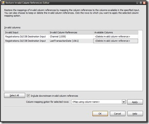 SSIS Restore Invalid Column References Editor Screen