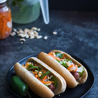 Bahn Mi Hot Dogs with Hoisin Sauce.