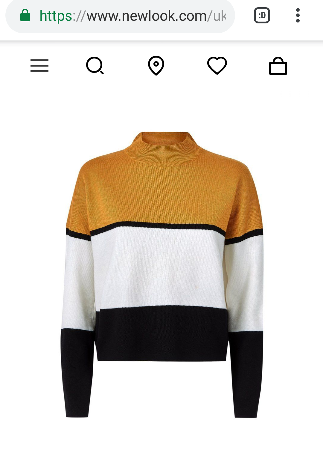 Bagging Striped Jumper with a solid block of colour in mustard yellow across shoulders and upper chest, the rest of the jumper is thick block white and black stripss