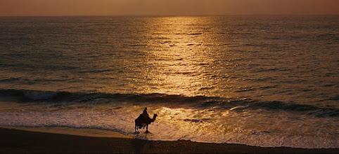 """Photo: Outro belíssimo plano fotografado pelas lentes de Freddie Young, parte da cena da praia de Aqaba em""""Lawrence da Arábia""""."""