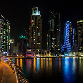 dubai marina UAE by Abdullah Alghamidi - Buildings & Architecture Bridges & Suspended Structures ( night, lights, city )