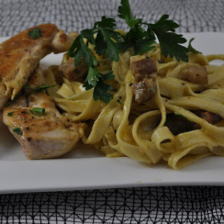Chicken with Pasta and Carbonara Sauce.