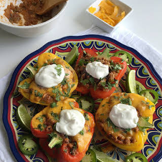 Veggie-Loaded Mexican Stuffed Peppers with Ground Turkey.