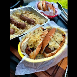 Beer Brats with Sauerkraut, Onions and Jalapenos.