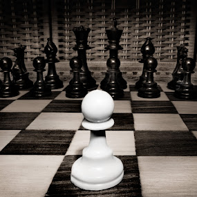 Against all odds by Ben Heys - Artistic Objects Other Objects ( brave, defeat, threat, chess, leasure, impossible, king, odds, compete, contrast, army, chess board, alone, piece, black, champion, victory, isolated, white, play, game, board, confront, pastime, bravery, square, match, pawn )