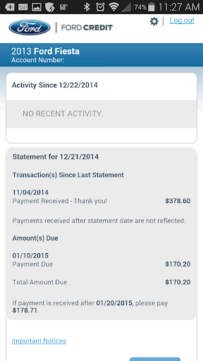 Ford Credit Account Manager screenshot 2