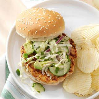 Salmon Burgers with Tangy Slaw.