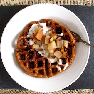 Honey-Amaranth Waffles with Spiced Pears.