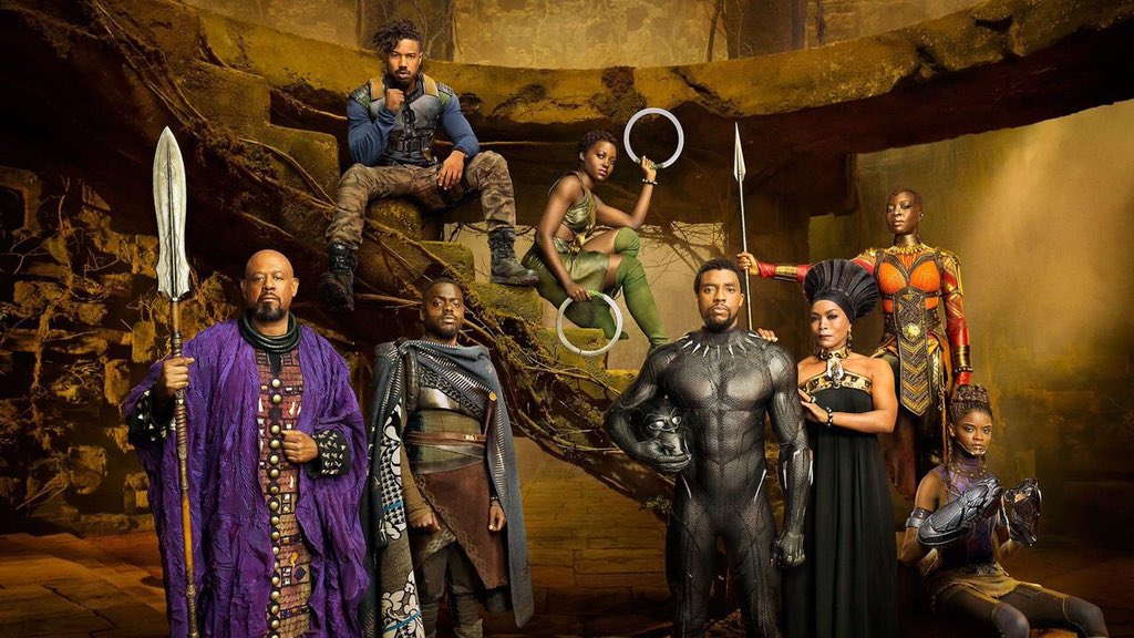 The primary cast members of Black Panther.