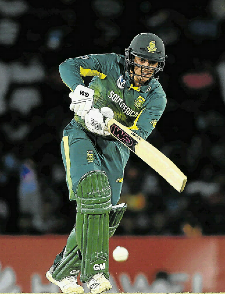 Proteas batsman Jean-Paul Duminy goes on the drive as he hits a boundary during the second One-Day International against Sri Lanka at Dambulla on Wednesday. Duminy made 32.