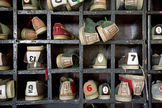 Photo: Bowling shoes on shelves at Rockland State Hospital.