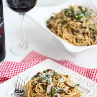 Linguini With Mushrooms And A Mascarpone Cheese Sauce.