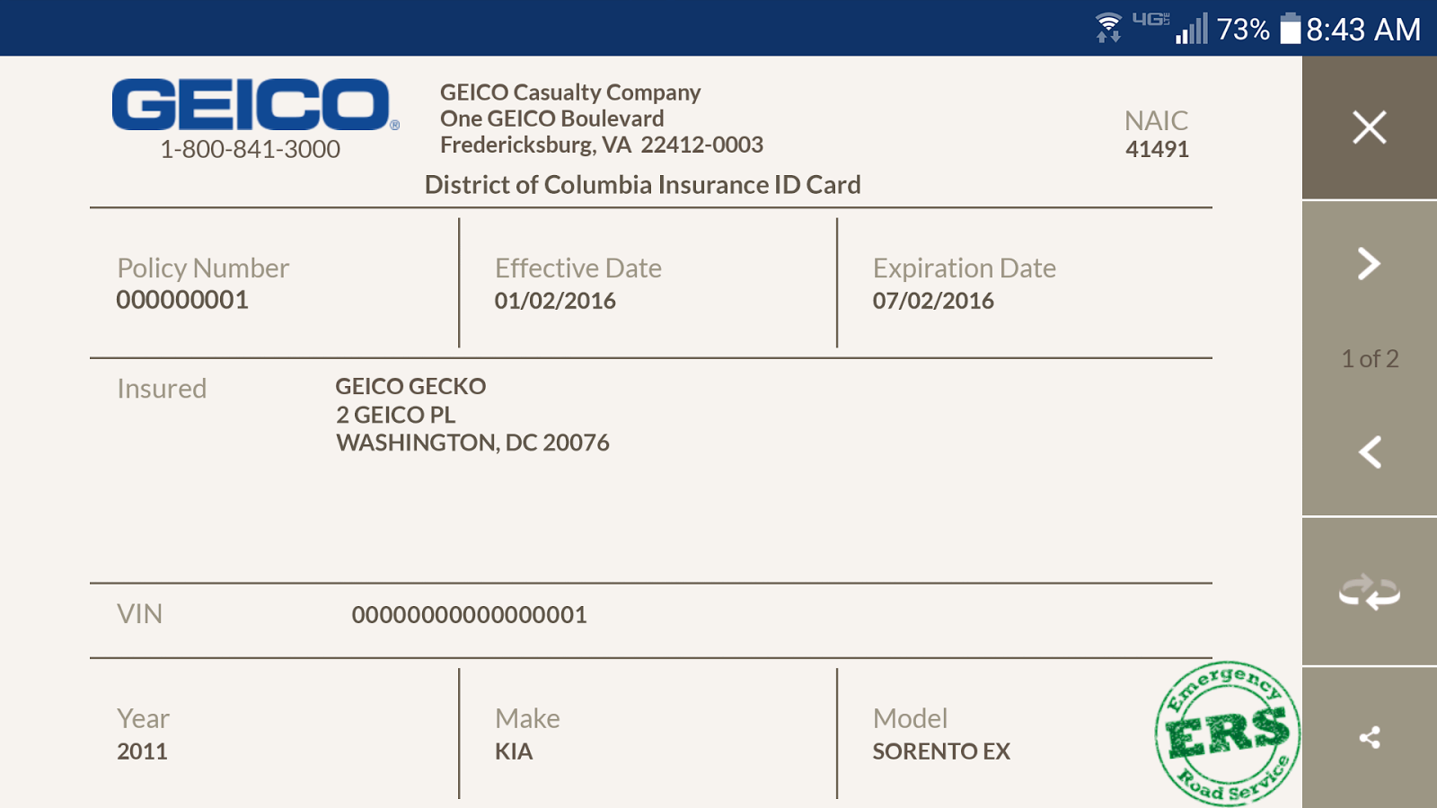 Fake Auto Insurance Card Template Download - Professional ...