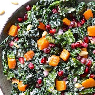 Kale, Butternut Squash & Pomegranate Salad with Lemon Tahini Dressing.
