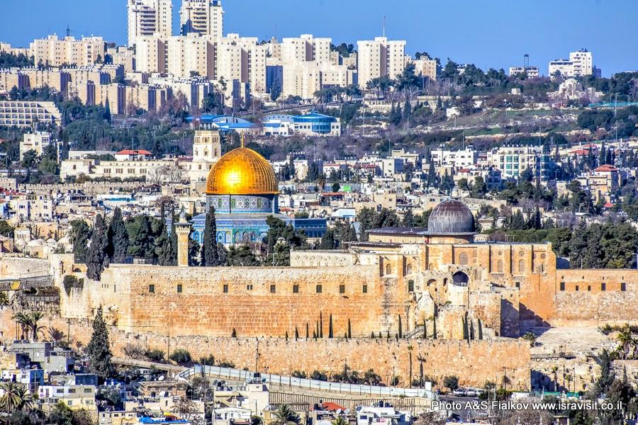 Вид на Храмовую гору Иерусалима с смотровой площадки в парке Тротнер. Экскурсия в Иерусалиме.