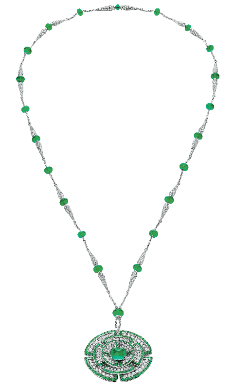 The Bulgari Giardini Italiani pendant necklace in diamonds and emeralds, featuring a 6.32ct emerald centrepiece
