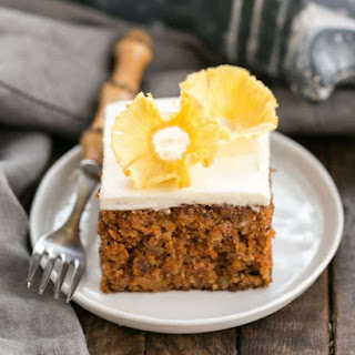 Old Fashioned Carrot Cake with Pineapple Flowers.
